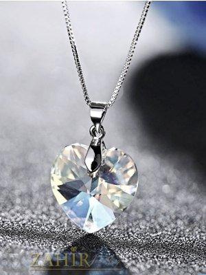 Много нежно прозрачно фасетирано кристално сърце 1 см на стоманена верижка колие 50 см - K2012
