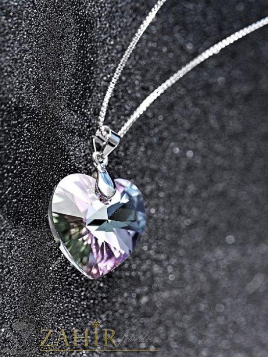 Дамски бижута - Много нежно прозрачно фасетирано кристално сърце 1 см на стоманена верижка колие 50 см - K2012