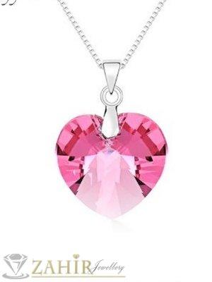 Много нежно розово фасетирано кристално сърце 1 см на стоманена верижка колие 50 см - K2013