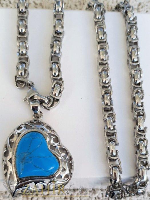 Дамски бижута - Единична бройка красиво сърце 4 см със син тюркоаз на стоманена верижка в 4 размера, широка 0,6 см, високо качество - K2014