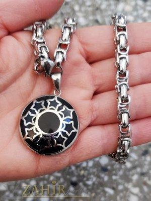 Единична бройка красив черен полиран медальон 3 см на стоманена верижка в 4 размера, широка 0,6 см, високо качество - K2015