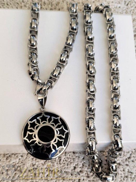 Дамски бижута - Единична бройка красив черен полиран медальон 3 см на стоманена верижка в 4 размера, широка 0,6 см, високо качество - K2015