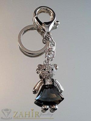 Сладко мече 5 см с голям графитен кристал и бели циркони на ключодържател от стомана 11 см - KL1043