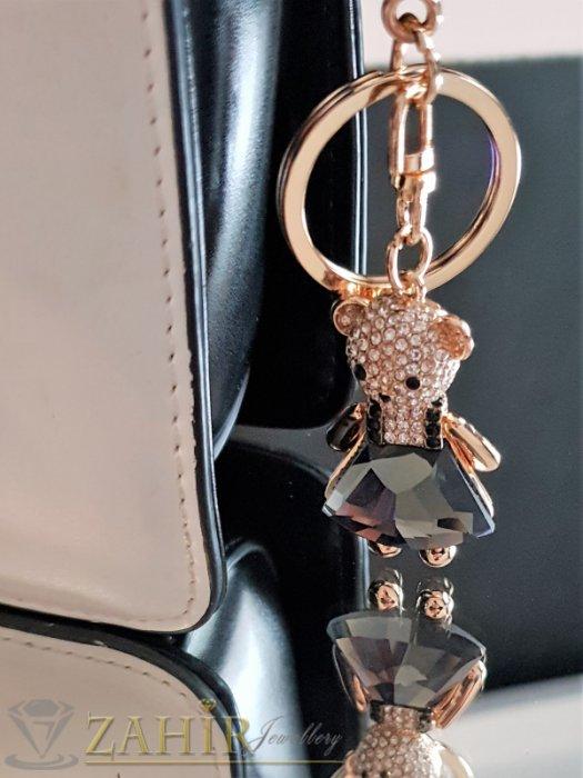 Аксесоари за коса - Сладко мече 5 см с голям графитен кристал и бели циркони на ключодържател от стомана 11 см, позлатен - KL1044