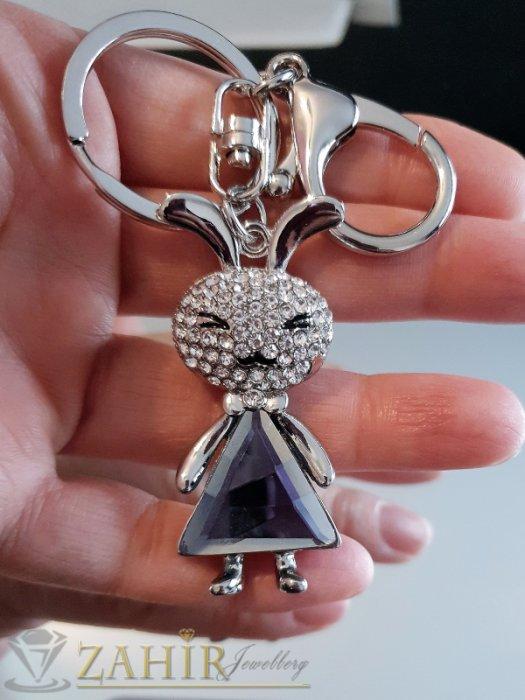 Кристално зайче 6 см с голям графитен кристал и бели циркони на ключодържател от стомана 11 см - KL1045