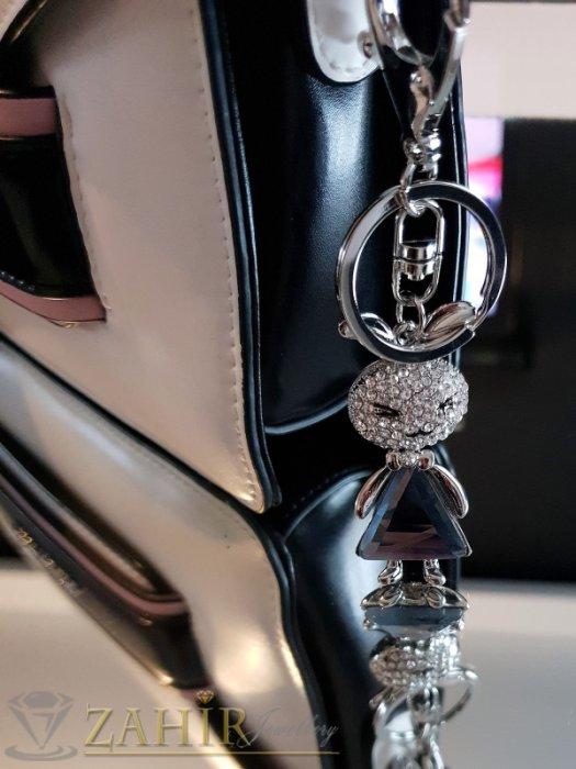 Аксесоари за коса - Кристално зайче 6 см с голям графитен кристал и бели циркони на ключодържател от стомана 11 см - KL1045
