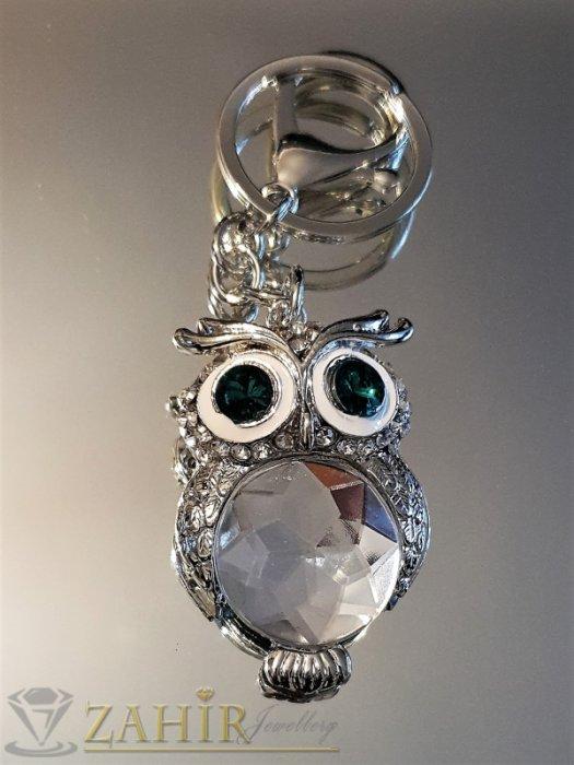 Ключодържател 11 см с кристална сова 5 см със зелени очи и голям фасетиран бял кристал, стомана - KL1049