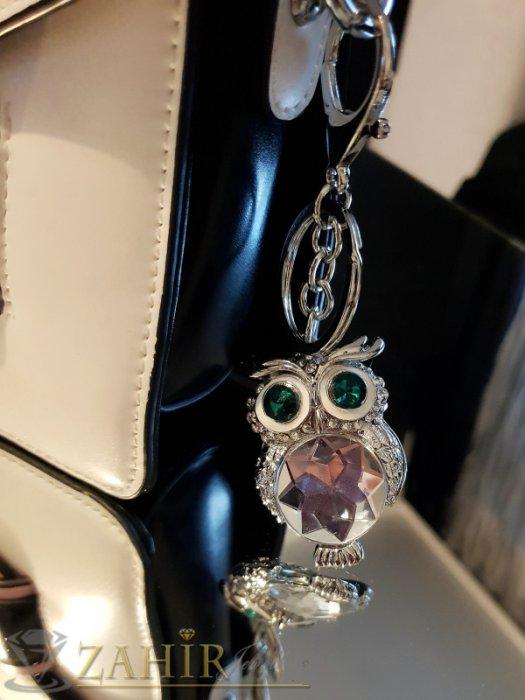 Аксесоари за коса - Ключодържател 11 см с кристална сова 5 см със зелени очи и голям фасетиран бял кристал, стомана - KL1049
