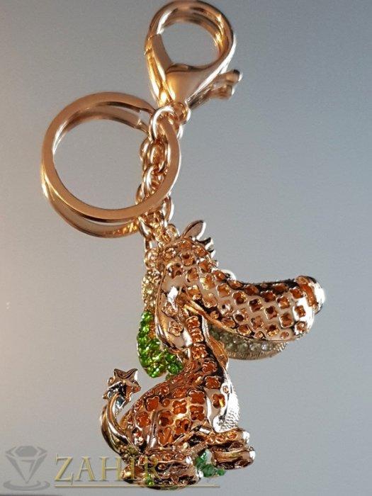 Аксесоари за коса - Позлатено куче с подвижна глава, зелени и бели кристали на ключодържател 12 см - KL1051