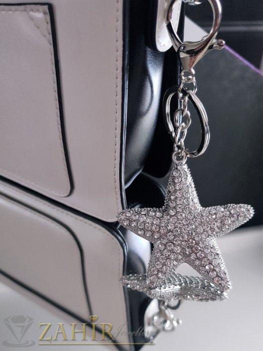 Аксесоари за коса - Кристална морска звезда 6 на 6 см, изящна изработка, инкрустирана с циркони на ключодържател от стомана 12 см - KL1052