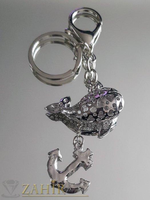 Аксесоари за коса - Стоманен кит и котва с бели кристали на ключодържател 12 см, аксесоар за чанта - KL1054
