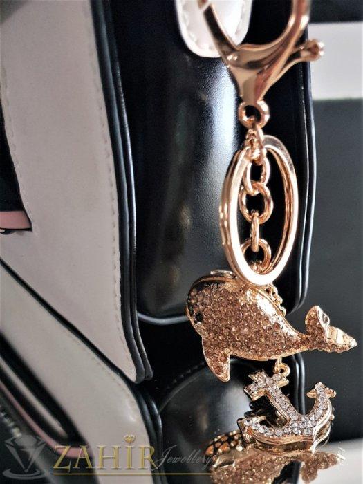 Аксесоари за коса - Позлатен кит и котва с бели и кехлибарени кристали на ключодържател 12 см, аксесоар за чанта - KL1055