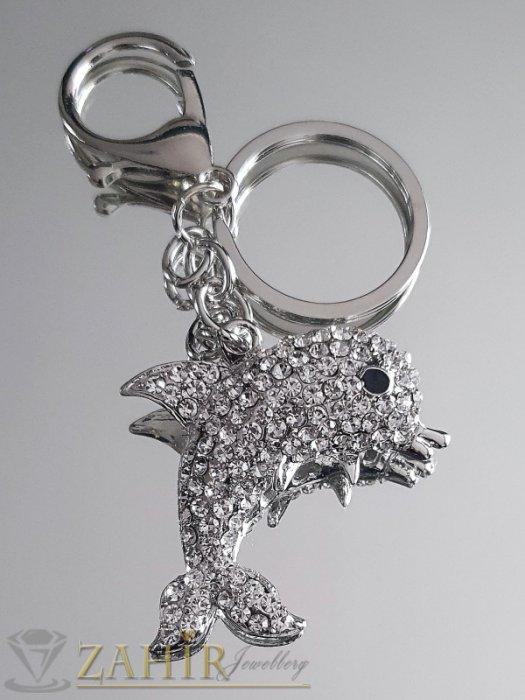 Безупречен кристален стоманен делфин 5 см на ключодържател 12 см, аксесоар за чанта - KL1056