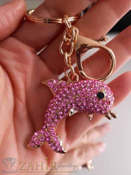 Позлатен кристален розов делфин 5 см на ключодържател 12 см, аксесоар за чанта - KL1057