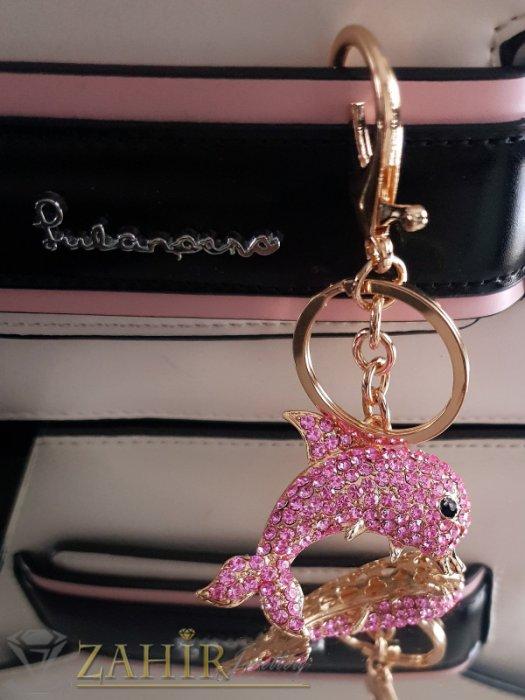 Аксесоари за коса - Позлатен кристален розов делфин 5 см на ключодържател 12 см, аксесоар за чанта - KL1057