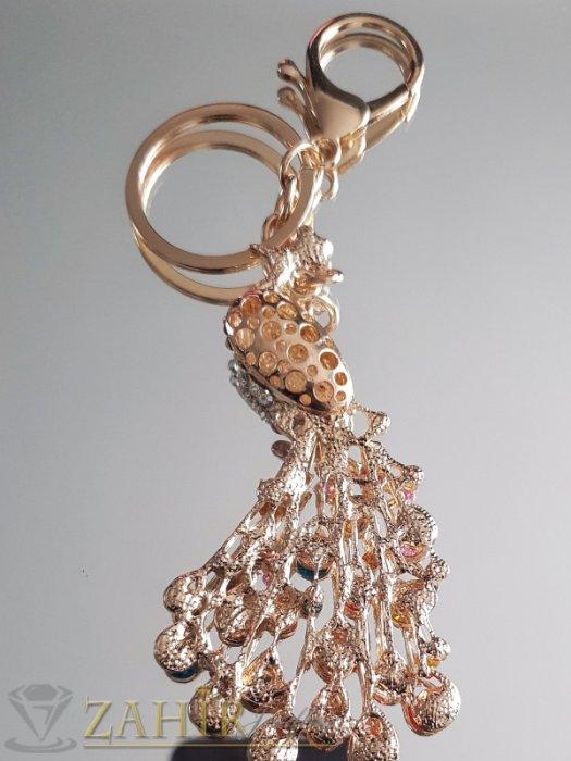 Аксесоари за коса - Превъзхотен многоцветен кристален позлатен паун 8 на 4 см, на ключодържател 14 см - KL1060