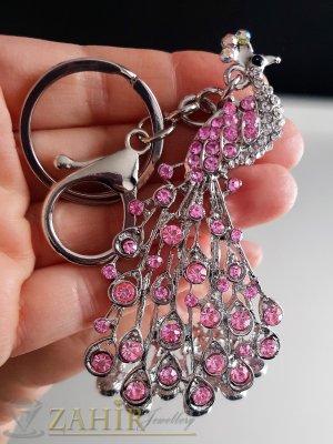 Превъзхотен розов кристален стоманен паун 8 на 4 см, на ключодържател 14 см - KL1061