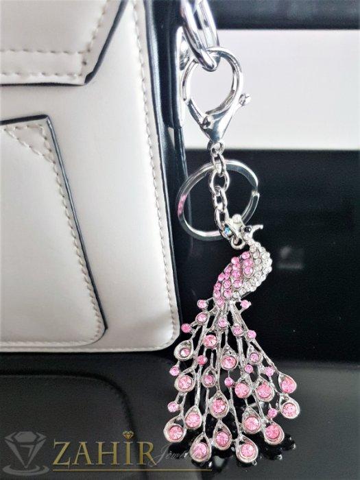 Аксесоари за коса - Превъзхотен розов кристален стоманен паун 8 на 4 см, на ключодържател 14 см - KL1061