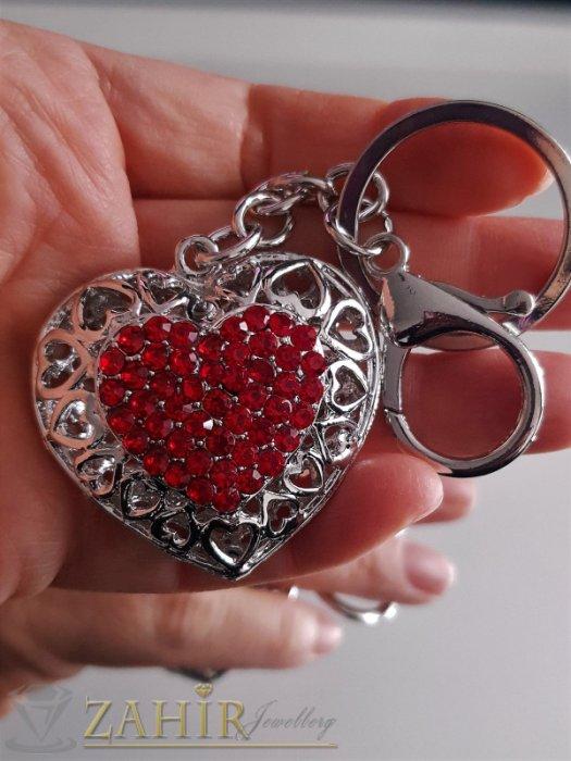 Двулицево лазерно изрязано сърце с червени кристали 5 на 4 см на ключодържател 11 см - KL1064