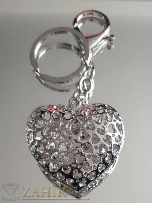 Аксесоари за коса - Двулицево лазерно изрязано сърце с червени кристали 5 на 4 см на ключодържател 11 см - KL1064