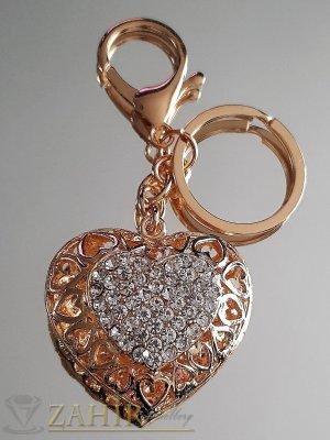 Двулицево лазерно изрязано сърце с бели кристали 5 на 4 см на позлатен ключодържател 11 см - KL1065