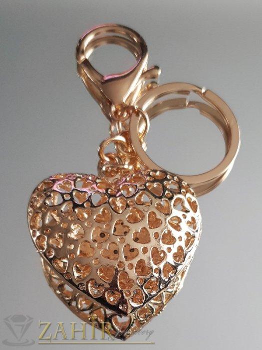 Аксесоари за коса - Двулицево лазерно изрязано сърце с бели кристали 5 на 4 см на позлатен ключодържател 11 см - KL1065