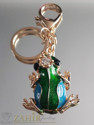 Синьо-зелена емайлирана жаба талисман с коронка на позлатен ключодържател 11 см - KL1066