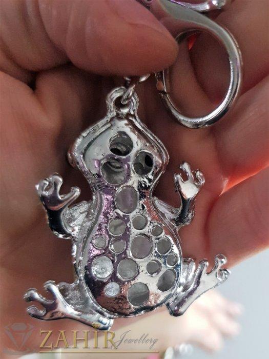 Аксесоари за коса - Розово-жълта емайлирана жаба талисман с коронка на стоманен ключодържател 11 см - KL1067