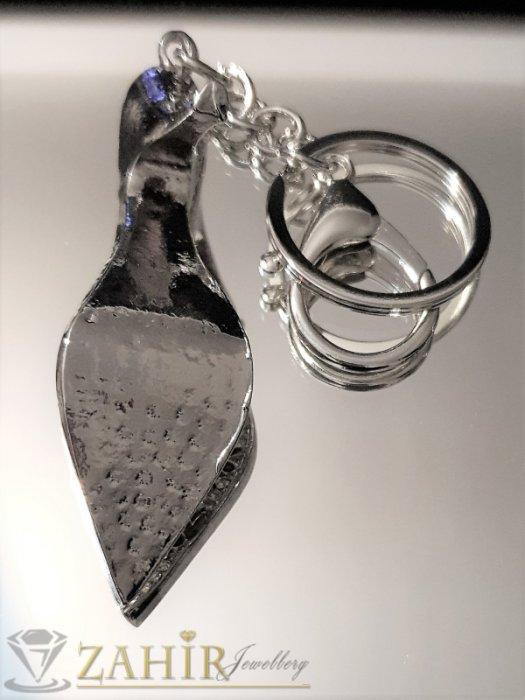 Аксесоари за коса - Великолепна кристална стоманена обувка 8 см на ключодържател 14 см, първокласна изработка - KL1070