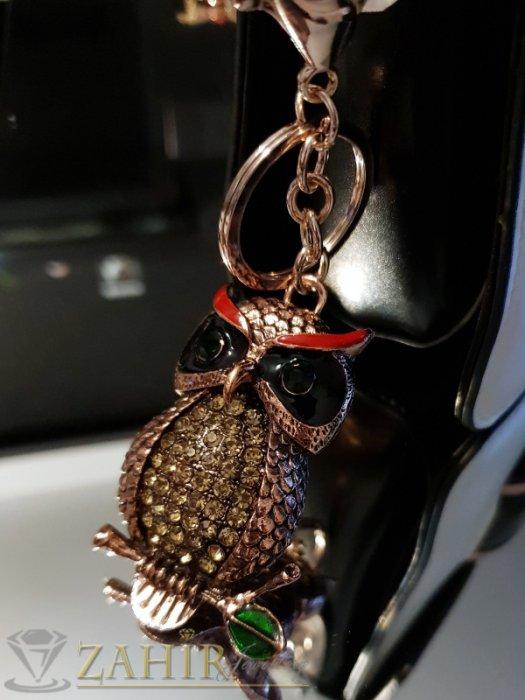 Аксесоари за коса - Бронзов бухал талисман 6 на 4 см с кристална очи и пера на ключодържател 12 см - KL1071