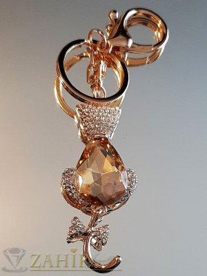 Великолкепна кристална котка с движеща се опашка и голем кехлибарен кристал на аксесоар 12 см - KL1072