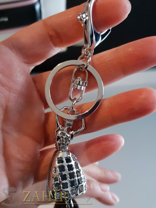 Аксесоари за коса - Изящно изработена движеща се стоманена балерина с голям графитен кристал на аксесоар 11 см - KL1075