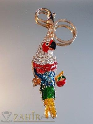 Пищен разноцветен кристален папагал 9 см на позлатен ключодържател 14 см - KL1078