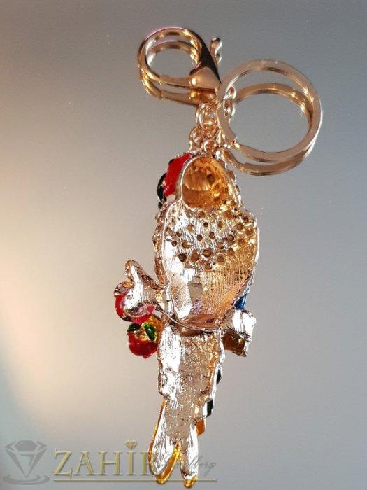 Аксесоари за коса - Пищен разноцветен кристален папагал 9 см на позлатен ключодържател 14 см - KL1078