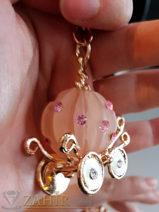 Аксесоари за коса - Позлатена розова каляска на Пепеляшка, изящна изработка на ключодържател 11 см - KL1079