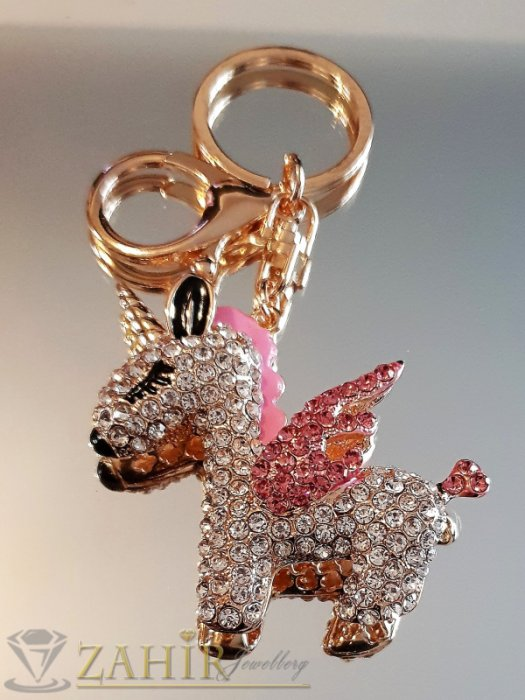 Пленителен кристален розов еднорог 6 на 5 см на позлатен ключодържател 11 см - KL1080