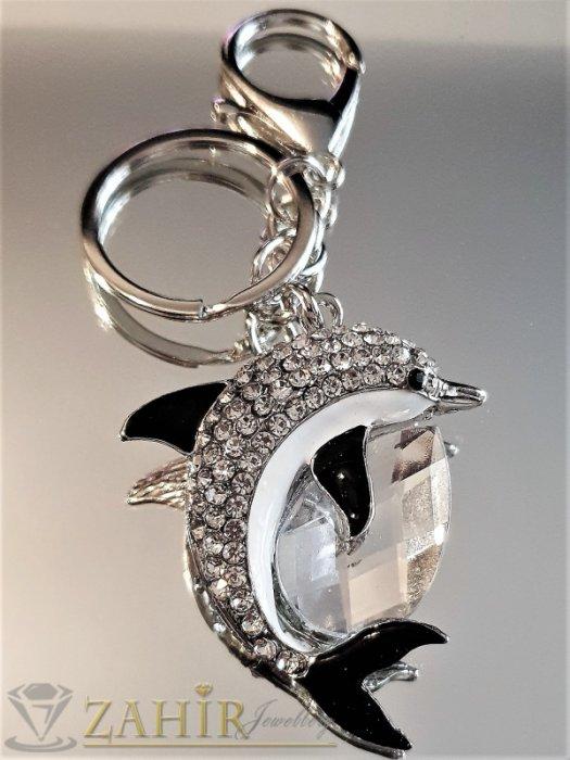 Изящен кристален делфин талисман с черни перки и голям бял кристал на стоманен ключодържател 12 см - KL1088