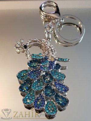 Възхитителен синьо-зелен кристален паун 8 на 5 см на стоманен ключодържател 13 см - KL1090