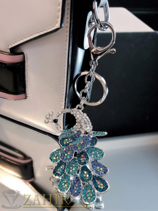 Аксесоари за коса - Възхитителен синьо-зелен кристален паун 8 на 5 см на стоманен ключодържател 13 см - KL1090