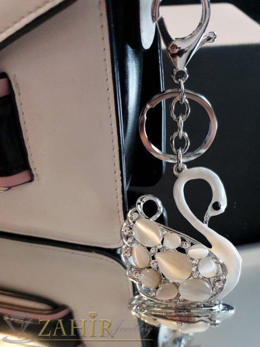 Аксесоари за коса - Поразитен бял кристален лебед с опали 6 на 6 см на стоманен ключодържател 12 см - KL1092