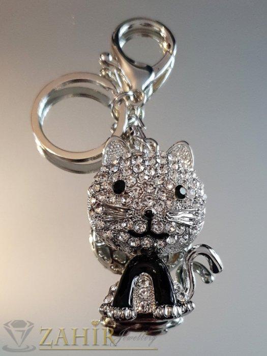Много сладко кристално коте 5 на 4 см с движеща се глава, лазерно изрязани сърца, на аксесоар 11 см - KL1100