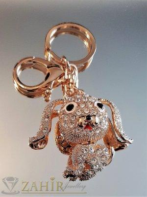 Пленително кристално куче 5 на 4 см с движещи се уши и глава на позлатен ключодържател 10 см - KL1103