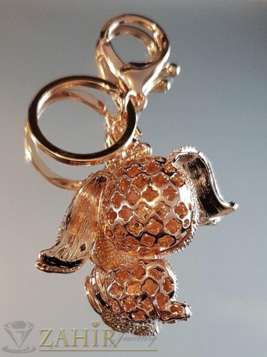 Аксесоари за коса - Пленително кристално куче 5 на 4 см с движещи се уши и глава на позлатен ключодържател 10 см - KL1103