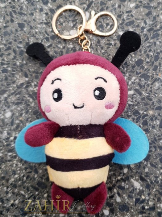 Бордо пухкава сладка велурена пчела ключодържател 13 на 5 см , златисти детайли, аксесоар за чанта или раница - KL1110