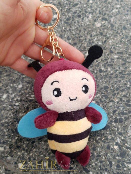 Аксесоари за коса - Бордо пухкава сладка велурена пчела ключодържател 13 на 5 см , златисти детайли, аксесоар за чанта или раница - KL1110