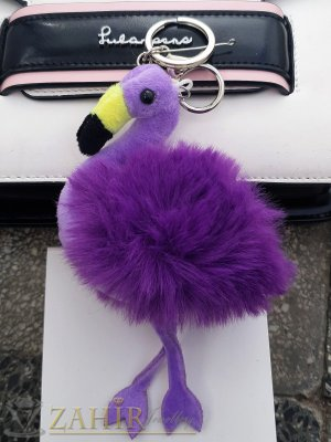 Лилаво пухкаво фламинго ключодържател 17 на 10 см, сребристи детайли, аксесоар за чанта или ключове - KL1113