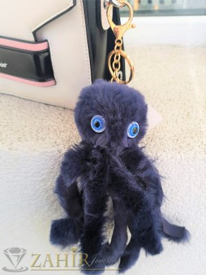 Тъмносин много мек и пухкав октопод ключодържател 18 на 5 см, златисти детайли, аксесоар за чанта или ключове - KL1117