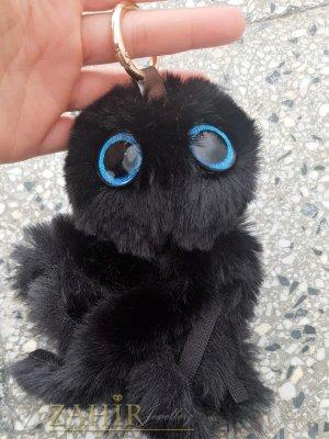 Черен много мек и пухкав октопод ключодържател 20 на 8 см, златисти детайли, аксесоар за чанта или ключове - KL1118