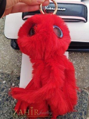 Червен много мек и пухкав октопод ключодържател 20 на 8 см, златисти детайли, аксесоар за чанта или ключове - KL1119