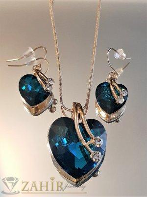 Чудесен позлатен коплект със сини кристални сърца, колие 50 см с висулка 3 см и обеци 3 см - KO2007